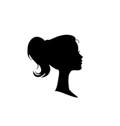 black profile silhouette of girl or woman face vector image