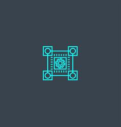 blockchain technology concept blue line icon vector image