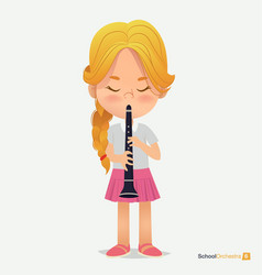 Blonde girl tress in pink skirt play on trumpet vector