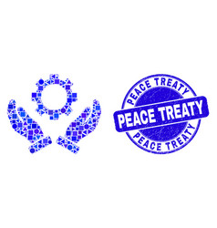 Blue distress peace treaty stamp and gear care vector
