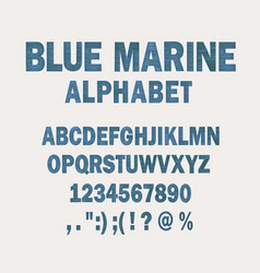 blue marine alphabet simple striped sea font vector image