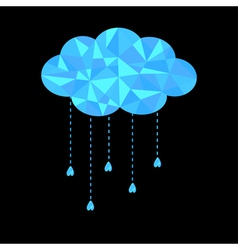Blue polygonal cloud with hanging drops Polygonal vector image