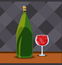Bottle and glass wine premium quality menu vector