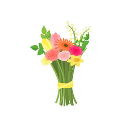 Bouquet composition from different flowers vector