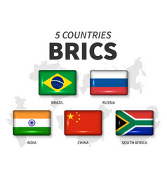 brics and membership flag association of 5 vector image