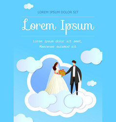 bride and groom stand face to face on white clouds vector image