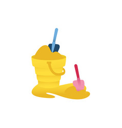 Cartoon baby bucket sand shovel toys icon vector