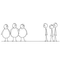 cartoon group thin men looking at crowd vector image