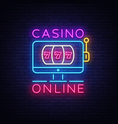 casino online neon sign casino design vector image