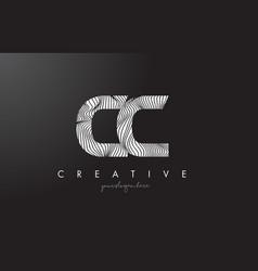 Cc c c letter logo with zebra lines texture vector