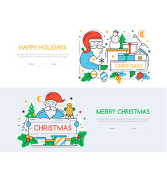 christmas and new year line design style vector image