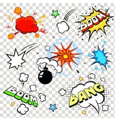 Comic speech bubbles in pop art style with bomb vector image