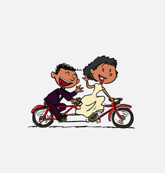 couple of black newlyweds riding a tandem happy vector image