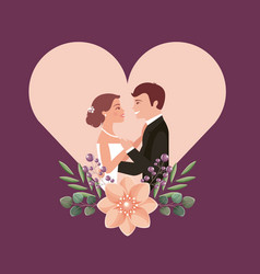 couple wedding day flowers in heart love vector image
