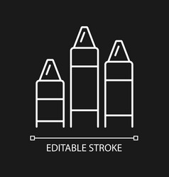 Crayons white linear icon for dark theme vector