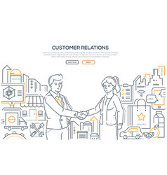 customer relations - line design style vector image