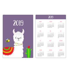 Cute alpaca llama and bee cactus simple pocket vector
