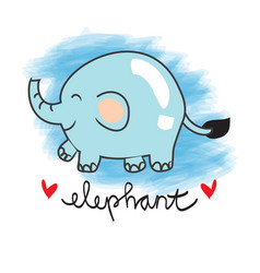 Cute elephant cartoon with white background vector