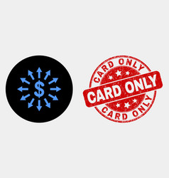 dollar emission icon and distress card only vector image