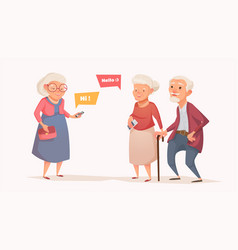 Elderly couple and an old woman in the style of a vector