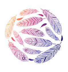 Ethnic feathers round colored emblem vector