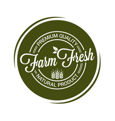 farm fresh product seal on white background vector image