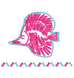 fish light neon skeleton vector image