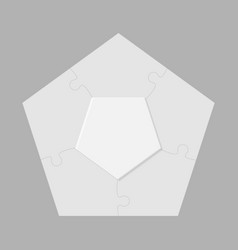 five pieces jigsaw puzzle pentagon info graphic vector image