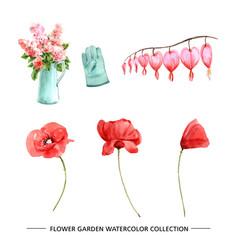 Flower garden design with watercolor vector