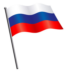 flying russian flag russia on flagpole silk vector image