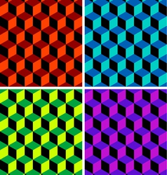 Four cubic seamless patterns vector