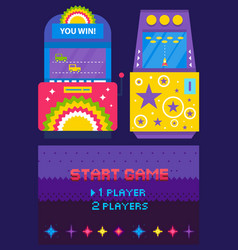 Game machine pixel webpage car and rocket vector