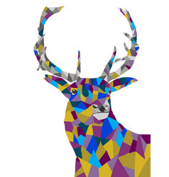 Geometric colorful deer art abstract vector