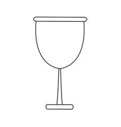 Glass cup beverage wine glassware outline vector