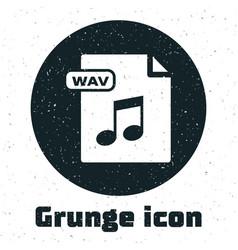 Grunge wav file document download wav button icon vector