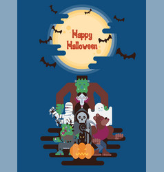halloween characters under the moon vector image