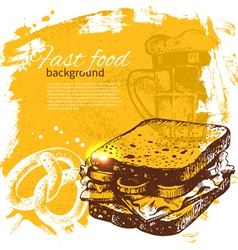 Hand drawn vintage fast food background vector image