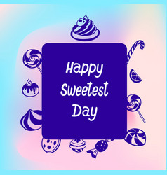 happy candy sweet day logo simple style vector image