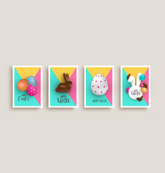 happy easter chocolate rabbit egg 3d card set vector image