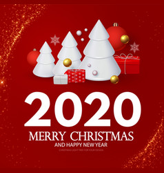 happy new 2020 year greetings with 3d fir trees vector image