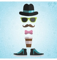 Hipster man with hat glasses bow coffee vector image