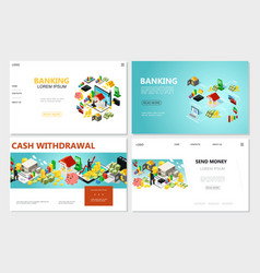 isometric bank websites set vector image