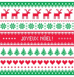 Joyeux noel card - scandinavian christmas pattern vector