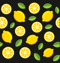 lemon fruits seamless pattern on dark background vector image