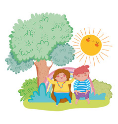 little chubby couple in the landscape vector image