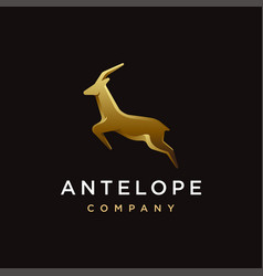 luxury jumping antelope logo icon template vector image