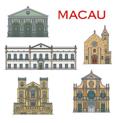 macau landmark buildings portuguese architecture vector image