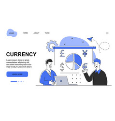 male character with laptop is working at currency vector image