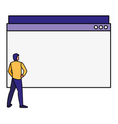Man using template webpage vector
