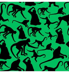 monkey shadows silhouette green and black pattern vector image